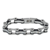 VJ1116 Two Tone Silver and Black Bike Chain Bracelet with White Crystal Centers