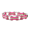 VJ1118 Two Tone Silver and Pink Ladies Bike Chain Bracelet with White Crystal Centers