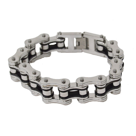 VJ1124 Men's 3/4 inch Wide Two Tone Silver and Black Bracelet - Daytona Bikers Wear