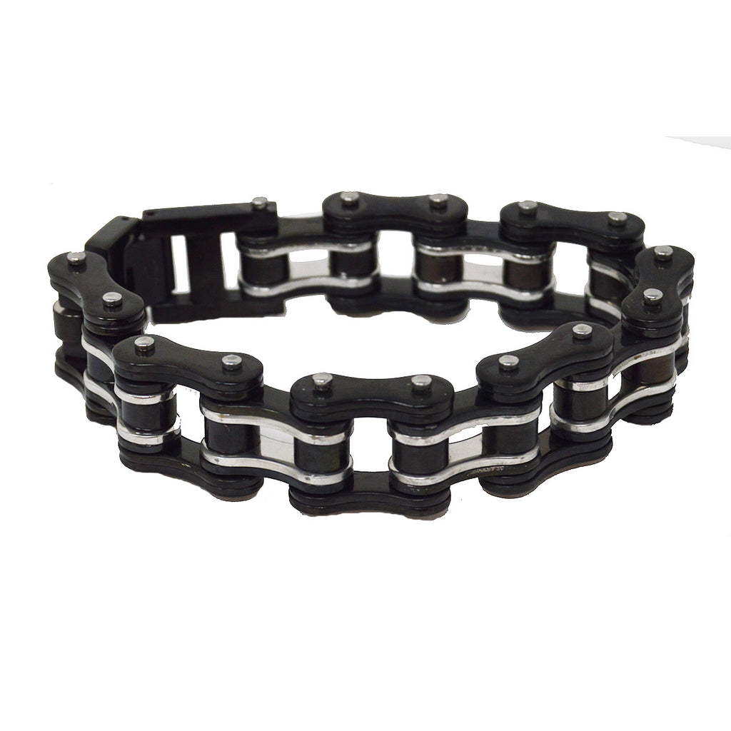 VJ1125 Men's 3/4 inch Wide Two Tone Black and Silver Bracelet - Daytona Bikers Wear