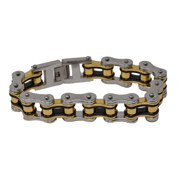 VJ1126 Men's 3/4 inch Wide Tricolor Black, Silver, and Gold Bike Chain Bracelet - Daytona Bikers Wear