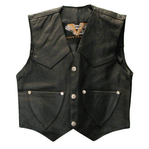 VK901 S Kid's Leather Vest Plain Side