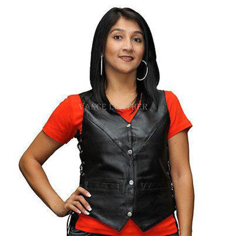 Vance Leather VL1005 Ladies Milled Leather Four Snap Lace Side Vest