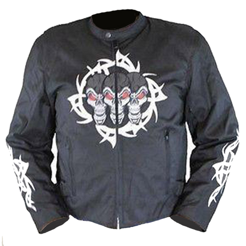 Vance Leather VL1529H Men's Textile Jacket with Reflective Skull and Hoodie