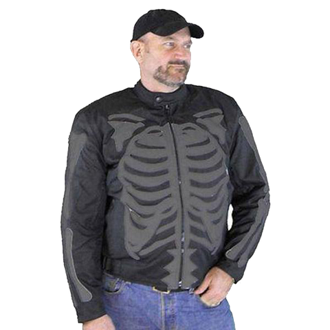 VL1530 Vance Leather Men's Reflective Skeleton Textile Jacket with Dark Gray Bones