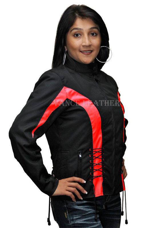 VL1566 Vance Leather Ladies Textile Crystal Jacket with Color Accents and Hoodie - Daytona Bikers Wear