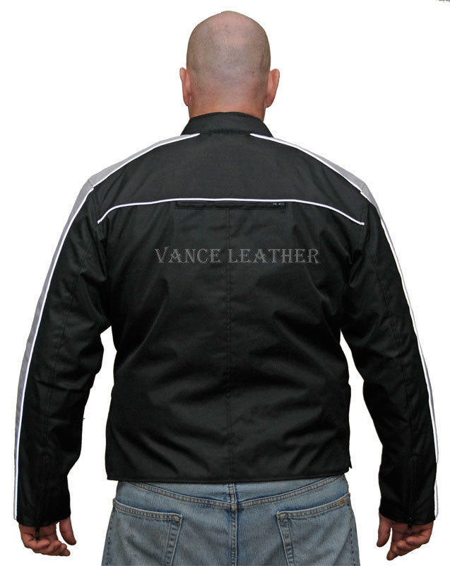 VL1557 Men's Textile Jacket with Accent Stripe Down Sleeve - Daytona Bikers Wear