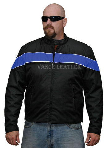 VL1558 Vance Leather Men's Cordura Jacket with Stripe - Daytona Bikers Wear