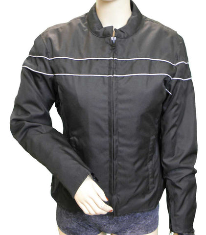 VL1560LR Ladies Textile Jacket with Reflective Piping and Lady Rider Embroidered on Back - Daytona Bikers Wear