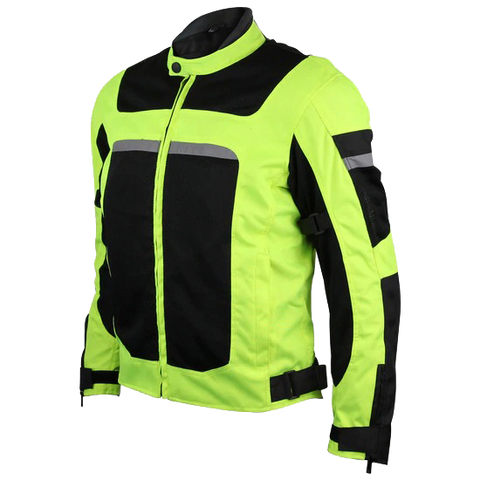 High Visability Mesh/Textile CE Armor Motorcycle Jacket in Neon Green