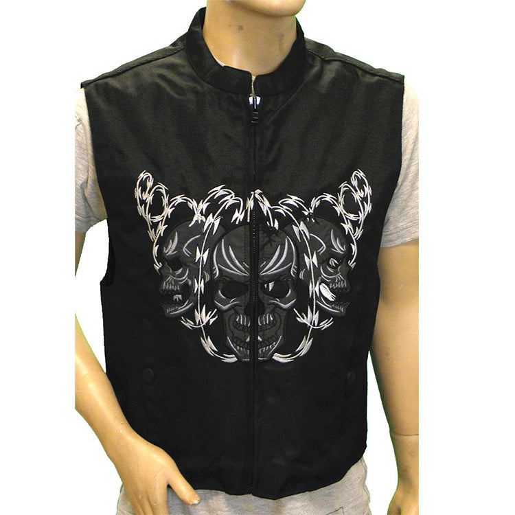 VL1929 Men's Textile Vest with Reflective Skull - Daytona Bikers Wear