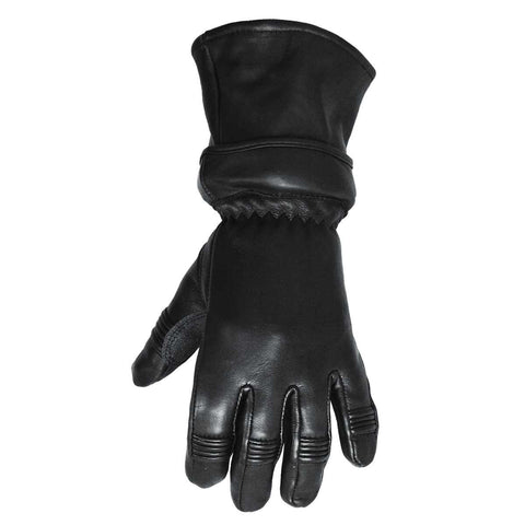 VL471 Convertible Zip Off Gauntlet Deerskin Leather Gloves - Daytona Bikers Wear