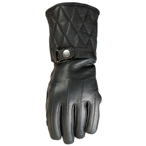 VL472 Waterproof Padded Gauntlet Leather Gloves - Daytona Bikers Wear