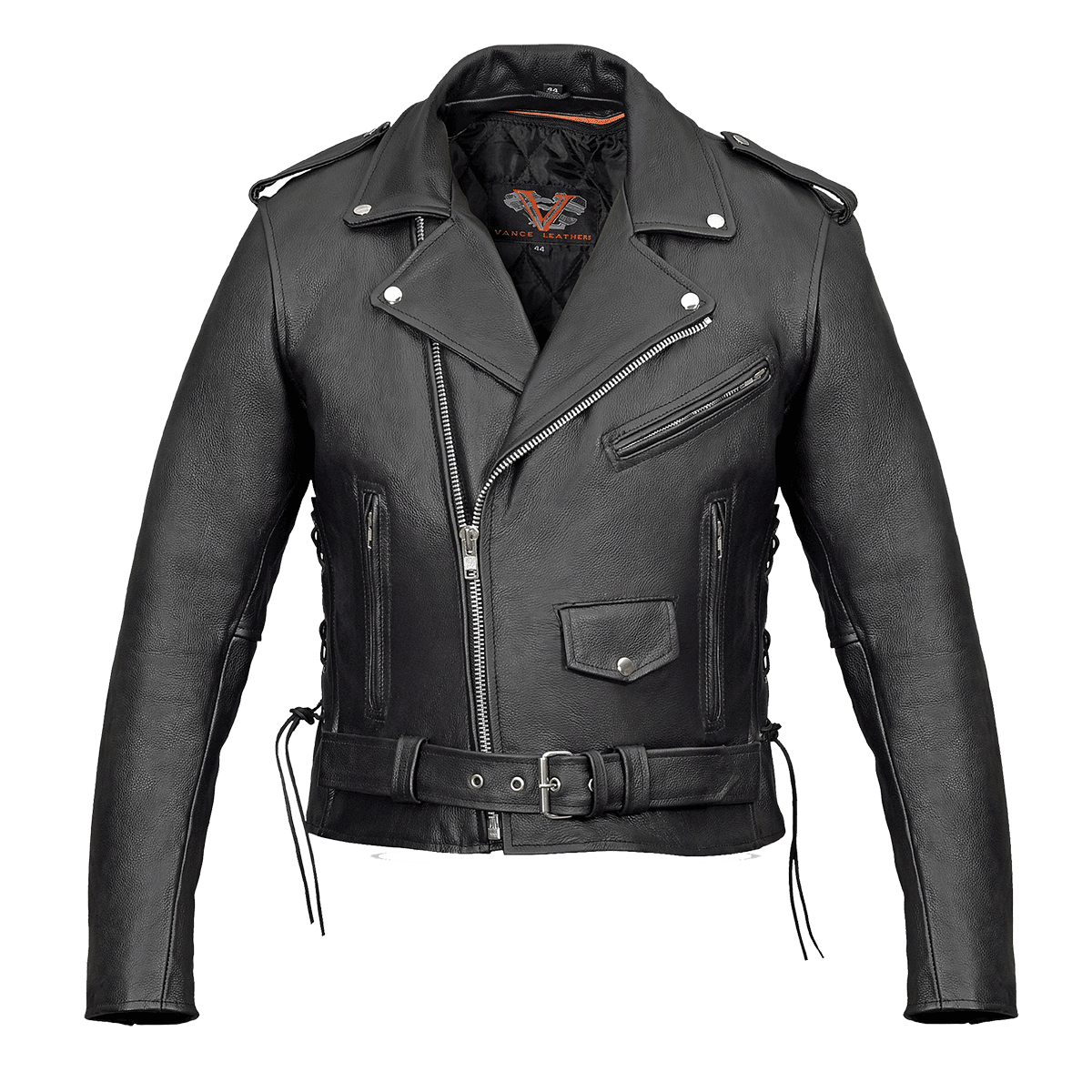 5276e06c0 Vance Leather VL515 Men's Top Grain Leather Classic Motorcycle Jacket