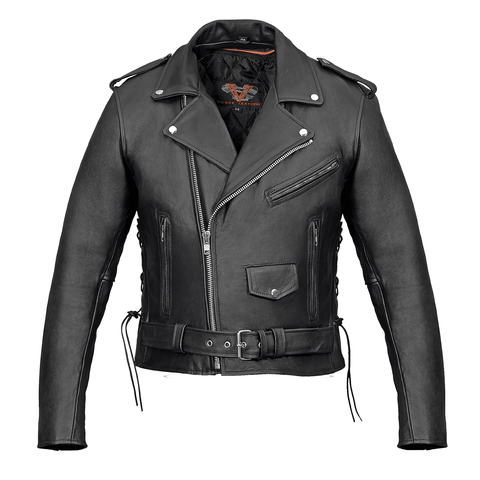 Vance Leather VL515S Men's Basic Classic Motorcycle Jacket W/Lace Sides and Zip Out Liner
