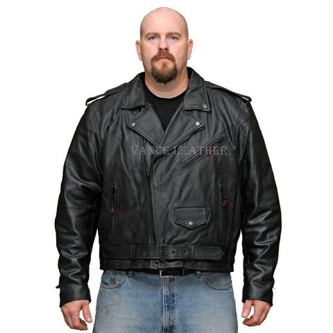 VL516 S Vance Leather Men's Basic Classic Motorcycle Jacket Plain Side