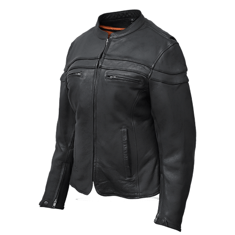 VL631 Vance Leather Ladies Racer Jacket with Zip Out Liner