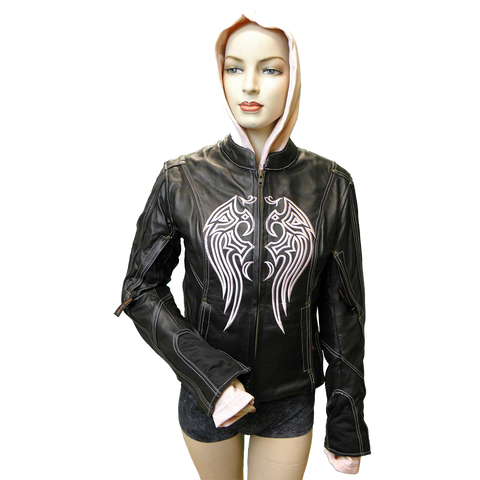 VL681 Vance Leather Ladies Leather Jacket with Embroidery and Removable Hoodie