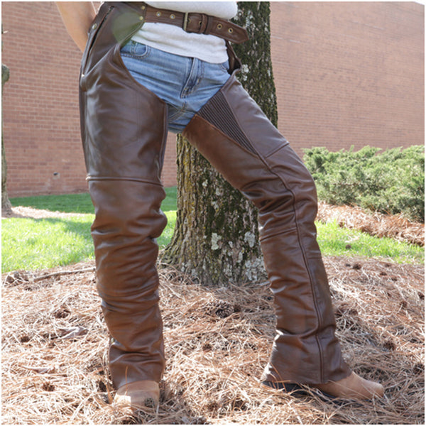 VL811 R Vance Leather Four Pocket Premium Leather Chaps with Removable Liner in Retro Brown - Daytona Bikers Wear