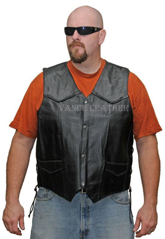 VL923 S Vance Leather Men's Milled Leather Lace Side Braid Vest with Gun Pockets - Daytona Bikers Wear