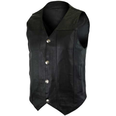 VL906 Premium Cowhide Leather Plain Side Buffalo Nickel Vest