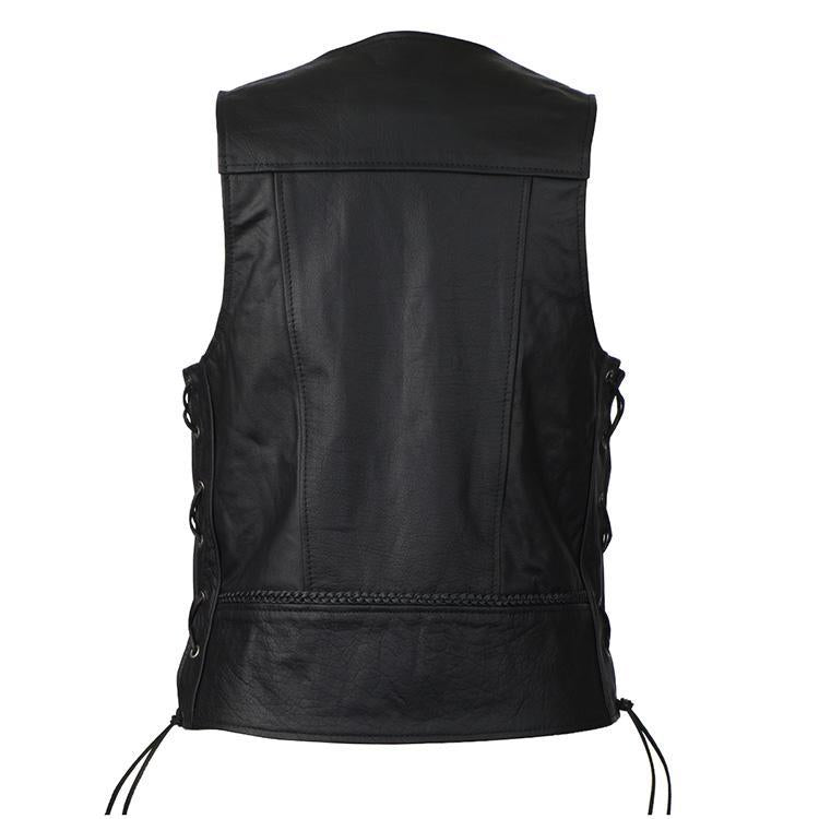 VL908 Vance Leather Buffalo Nickel Leather Motorcycle Vest with Braids and Side Laces - Daytona Bikers Wear