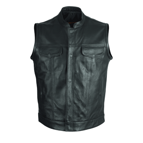 VL914S Vance Leather Zipper and Snap Closure Leather Motorcycle Club Vest