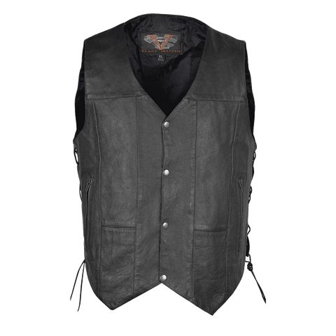 VL915S Vance Leather Men's Ten Pocket Vest of Basic Leather