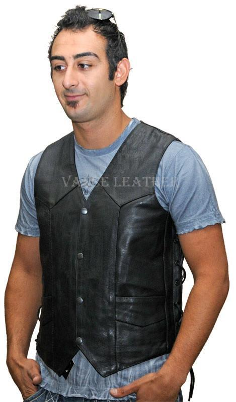 VL922 S Vance Leather Men's Economy Leather Lace Side Vest W/ Gun Pocket - Daytona Bikers Wear
