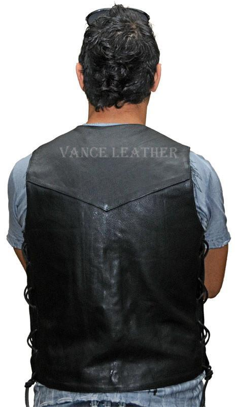 VL924 Vance Leather Men's Lace Side Vest with Single Seam Back - Daytona Bikers Wear