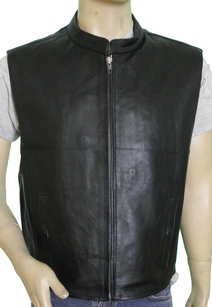 VL930 Vance Leather Men's Premium Cowhide Leather Zip Front Vest - Daytona Bikers Wear