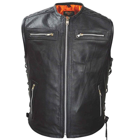 VL941 Vance Leather Men's Premium Padded Leather Vest - Daytona Bikers Wear