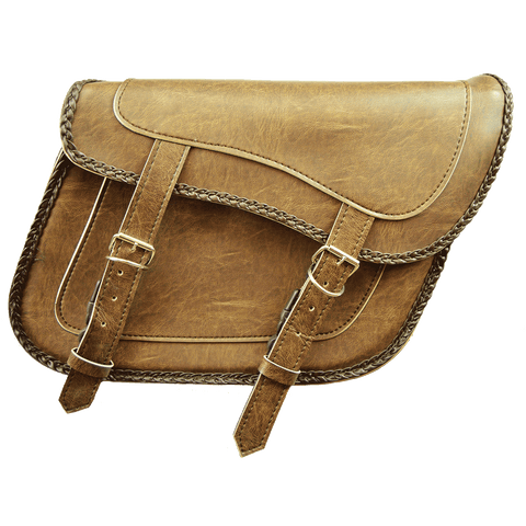 VS205DB Slanted Distressed Brown Concealed Carry Braided Saddlebags with and without Studs