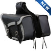 VS205GB Slanted Black and Grey Concealed Carry Braided Saddlebags with and without Studs - Daytona Bikers Wear