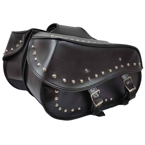 VS229 Vance leather Large 2 Strap Studded Saddle Bag