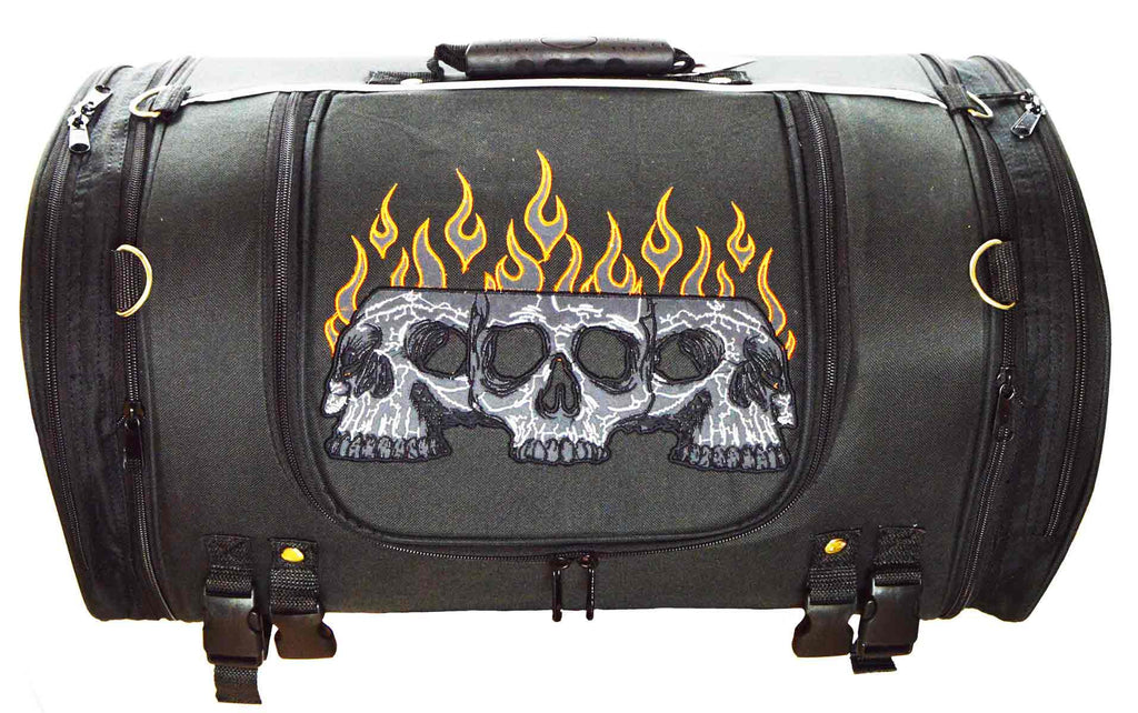 VS364 Vance Textile Trunk Bag w/Expandable Sides & Reflective Skull w/Colored Flame Embroidery - Daytona Bikers Wear