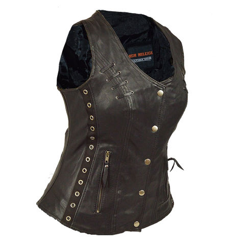 HML1038B Lightweight Goatskin Vest with Grommets, Twill and Lace Highlights