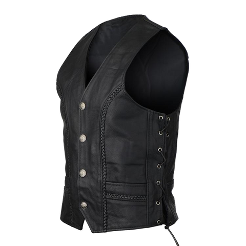 VL908 Vance Leather Buffalo Nickel Leather Motorcycle Vest with Braids and Side Laces