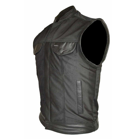 VL1914L Heavy Duty Textile Club Vest with Leather Accents and Snaps And Zipper Closure - Daytona Bikers Wear