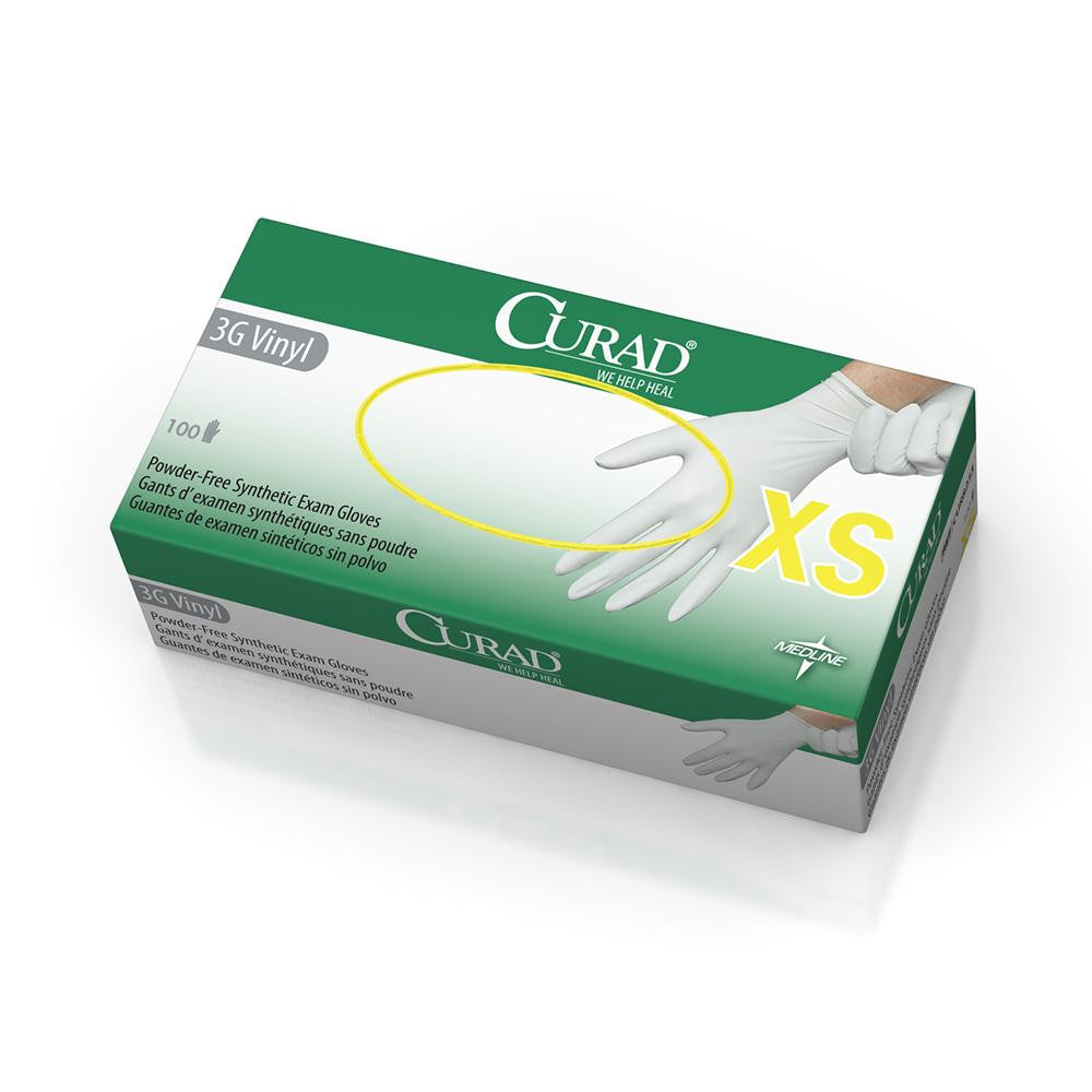 CURAD 3G Vinyl Exam Gloves  - White - X-Small - 1000 Each / Case - CA ONLY