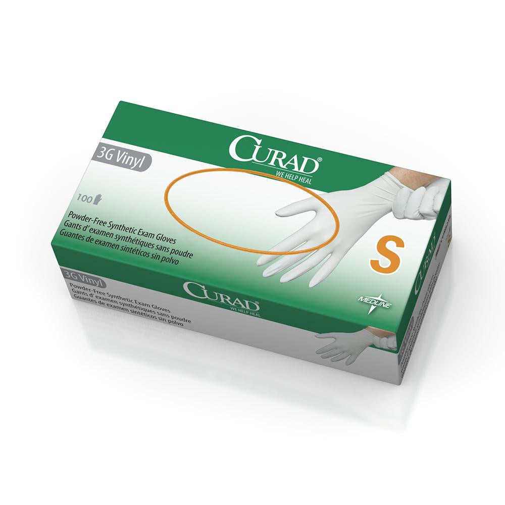CURAD 3G Vinyl Exam Gloves  - White - Small - 1000 Each / Case - CA ONLY
