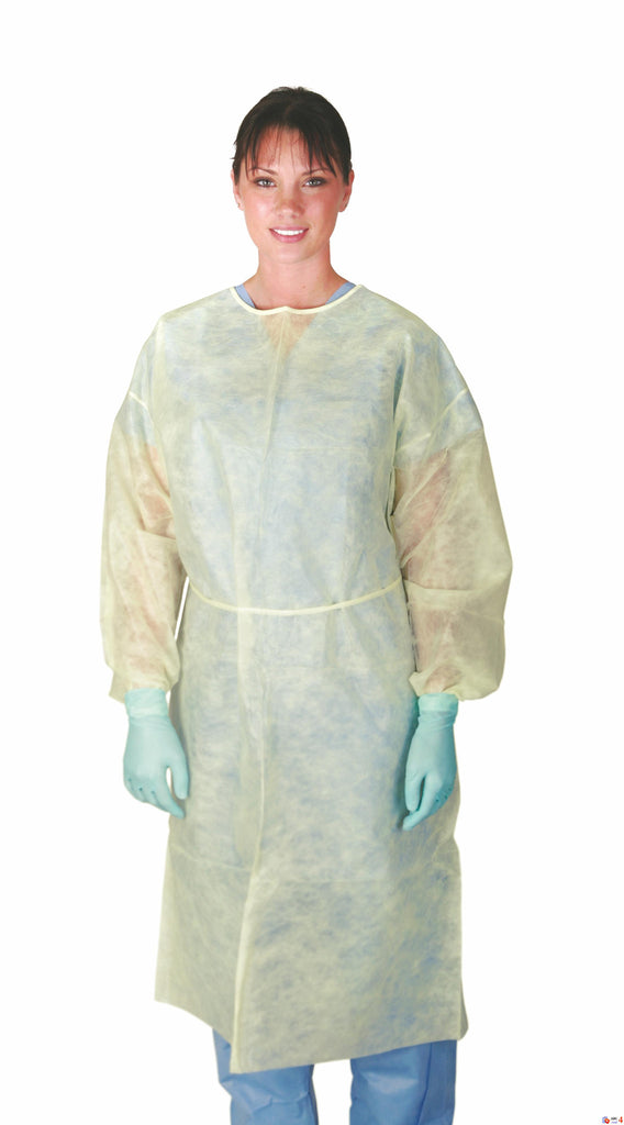 Polypropylene Isolation  Gowns - Yellow - Regular/Large - 50 Each / Case