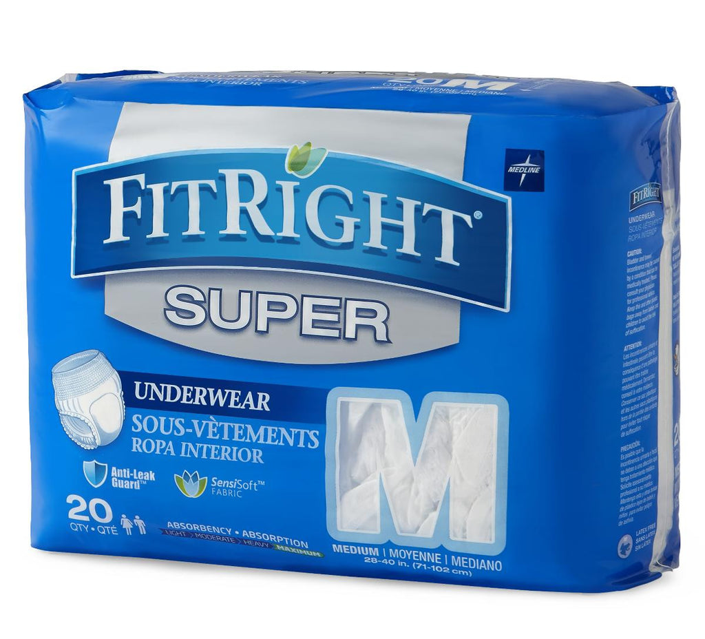 FitRight Super Protective Underwear - Medium - 80 Each / Case
