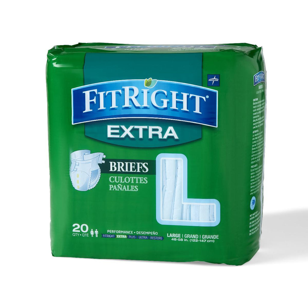"FitRight Extra Briefs - 48""-58"" Large - 20 Each / Bag"