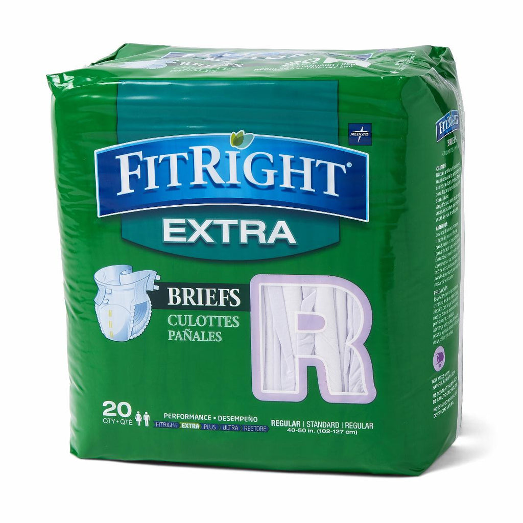 "FitRight Extra Briefs - 40""-50"" Regular - 80 Each / Case"
