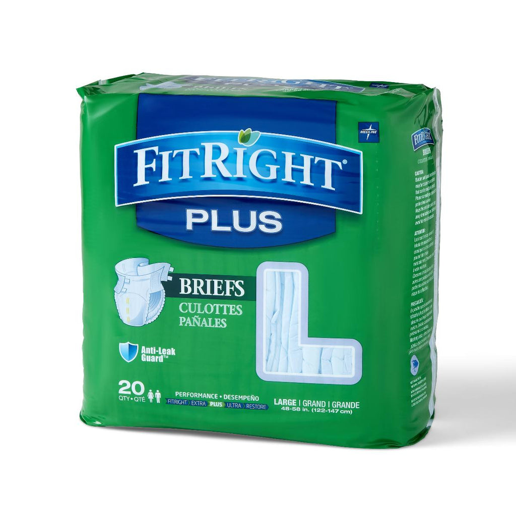 "FitRight Plus Briefs - 48""-58"" Large - 80 Each / Case"