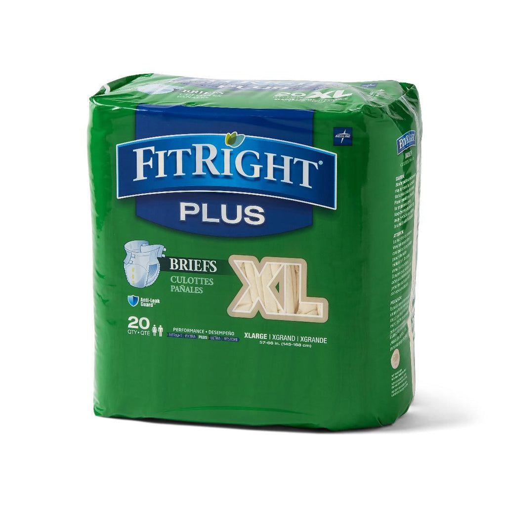 "FitRight Plus Briefs - 57""-66"" X-Large - 20 Each / Bag"