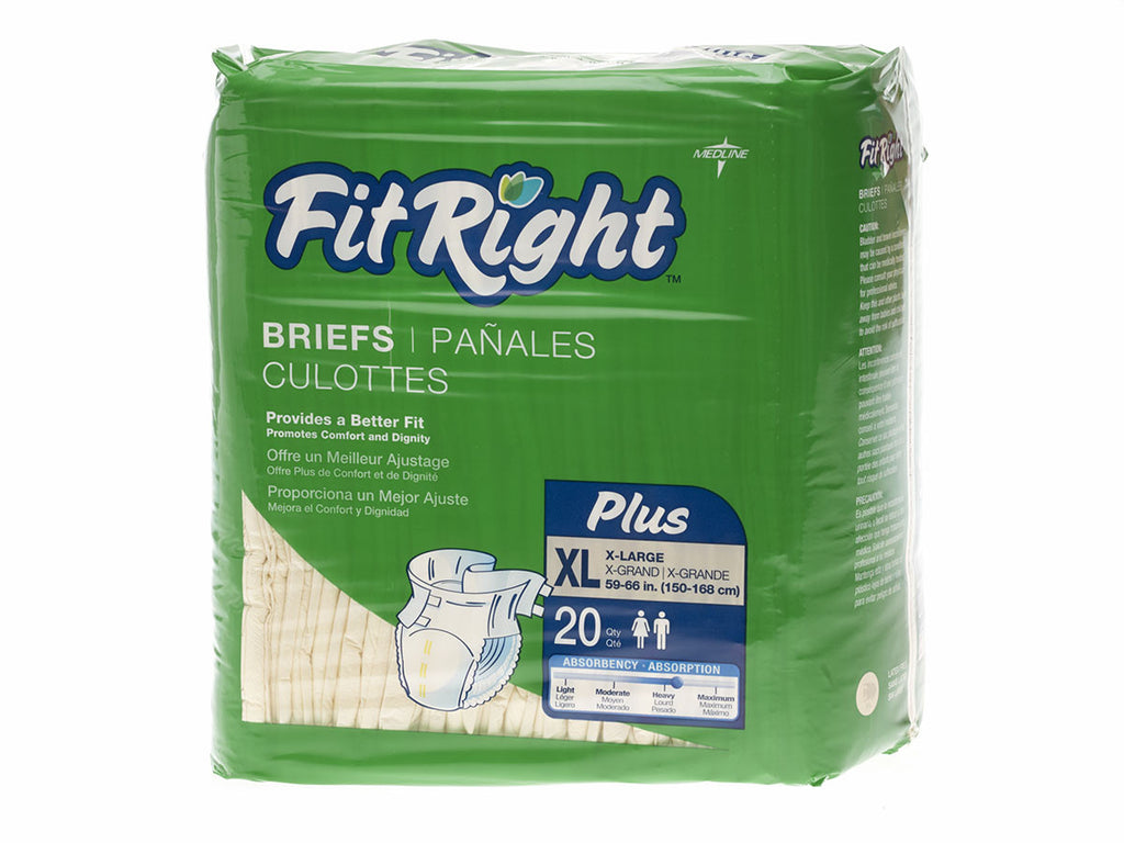 "FitRight Plus Briefs - 57""-66"" X-Large - 80 Each / Case"