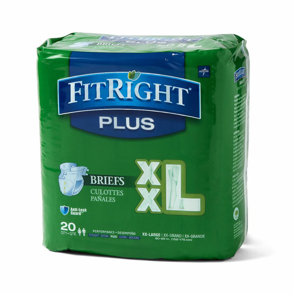 "FitRight Plus Briefs - 60""-69"" XX-Large - 20 Each / Bag"