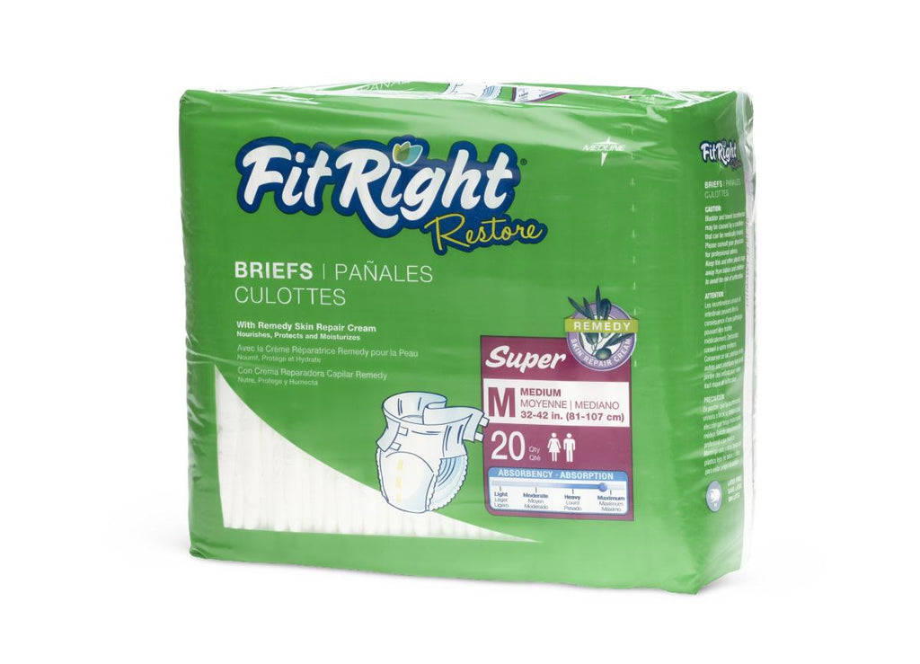 "FitRight Restore Extended Wear Briefs - 32""-42"" Medium - 20 Each / Bag"